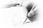 Interior designer works on a hand drawing sketch using color pencils, rule and rubber